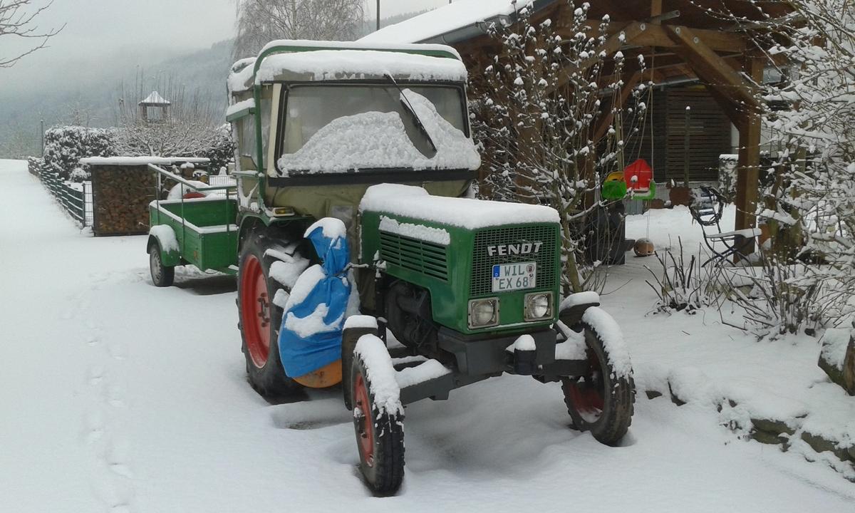 Farmer im Schnee