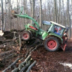 Farmer 3S beim Brennholz machen