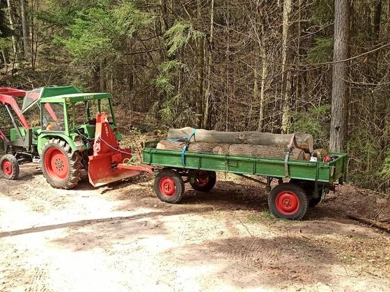 Farmer 102S beim Brennholztransport