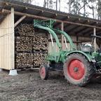 Wegen übermäßig viel Käferholz Unterstand aus demselben gebaut